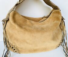 NWT Auth Juicy Couture Suede Tan Brown Hobo Leather Gold Satchel Hobo Purse $395