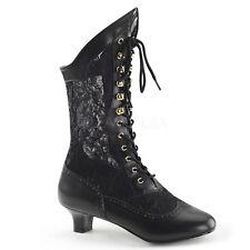 Black Vintage Steampunk Lolita Granny Ankle Boots Womans Costume Shoes 8 9 10 11