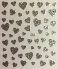 Nail Art 3D Decal Stickers Silver Glittery Hearts Valentine's Day