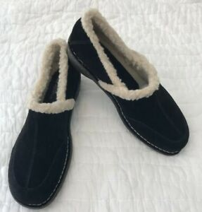 New $98 White Mt. Women 10 M Black Suede Leather Fleece Lined Clogs  Wedge Heel