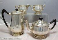Large Sterling solid silver Art Nouveau 4 piece tea set Walker and Hall 1915