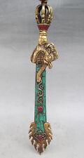 "11.4"" Old Tibet Tibetan Turquoise Bronze Manjushri Wisdom Sword"