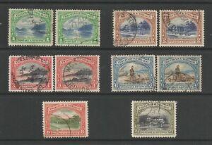Trinidad & Tobago QEII 1935 George V, used short set with Perf var.  SG230-36