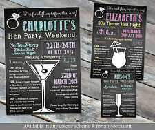10 Personalised Hen Party Weekend Bachelorette Itinerary Chalkboard Ring Invites