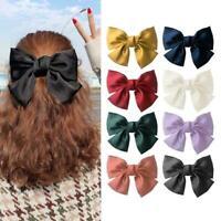 Big Bow Hair Clip Satin Hairpin Girl Hair Accessories Bowknot Hairpins F X3I9