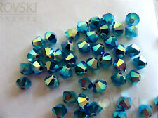 24 Caribbean Blue Opal AB2X Swarovski Beads Bicone 5328 4mm