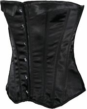 Ex Store Satin Style Boned Corset Bustier with Lace Up Back Black