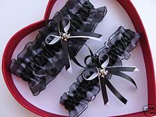 Wedding Garter Set Black / White - Skull