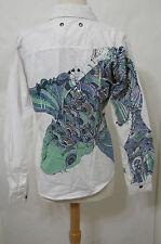 BURN N VIOLET White Button Front Shirt LS FISH Print W/Bead Trim NWT L $168