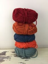 BULKY YARN LOT - 5 Skeins, Orange, Red, Blue, Green, Lion Brand, 2ply + 4ply
