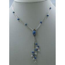 3 Strand .925 Liquid Sterling Silver Natural Blue Denim Lapis Necklace