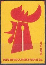 POLAND 1960 Matchbox Label - Cat.Z#561a.I Yellow backg. Cock head with a match.