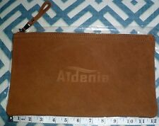 "NEW AIDENIA 12 1/4"" X 7"" BROWN LEATHER ZIP ZIPPERED TOOL UTENSIL POUCH BAG CASE"
