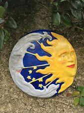 Handcrafted cement round Sun and Moon eclipse yard/garden art. Indoor/outdoor