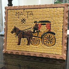 Ceramic Tile From MALTA Horse and Cart Mosaic
