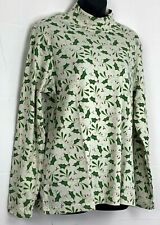 Blair Womens Mock Neck Shirt Cream Holly Berry All Over Print Long Sleeve Top L