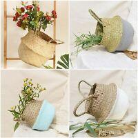 Seagrass Striped Storage Basket Wicker Laundry Basket Garden Flower Hanging Pot
