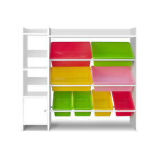 Artiss Book Storage Shelf Wooden Toy Storage Organizer with 8 Plastic Bins - White