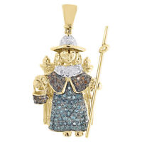 Red Blue Diamond Santo Nino de Atocha Pendant 14K Yellow Gold Charm 0.58 Tcw.