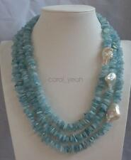 15-30mm 3 Row Natural Aquamarine Nucleated Baroque Pearls Necklace Women Fashion
