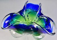 Chribska Czech Bohemia Crystal Green & Blue Glass Tricorn Bowl Josef Hospodka