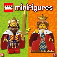 LEGO Minifigures #71008, #71011 - Queen / Reine + King / Roi - NEW - Sealed
