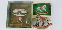 VTG Hallmark Tin Color Litho Christmas Ornaments Santa & Rocking Horse 1980 NOS