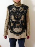 Roberto Cavalli Class Sweater L Wool Mohair Animal Tiger Face Mock Neck
