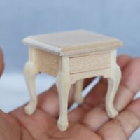 KQ_ 1/12 DIY DOLLHOUSE ACCESSORY MINI SIMULATED WOODEN BEDSIDE TABLE FURNITURE M