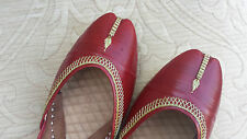 RED   LADIES INDIAN LEATHER WEDDING KHUSSA SHOES   SIZE 4