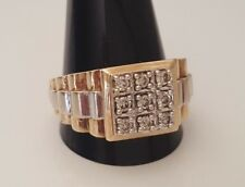 9k two tone solid gold diamond men's ring 10.05g size Z +1/2 - 12 3/4