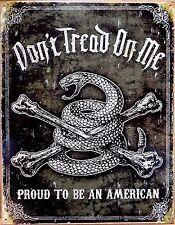 PLAQUE métal déco vintage USA DON'T TREAD ON ME snake serpent - 40 X 30 CM
