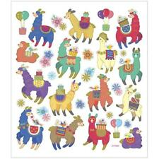 llama Party Christmas Gift Colourful Glitter Stickers 15cm Embellishments Sheet
