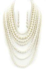 2Multi Layers White Acrylic Pearl Bead Bead Bib Necklace Set Statement 7 Strand