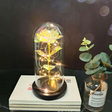 Wooden Base Glass Cover Led Night Light Rose Valentine Mother Gift Decoration