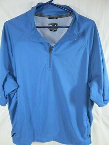 Adidas Climaproof 1/4 Zip Short Sleeve Pullover Windbreaker Golf Jacket L (AA7)
