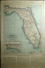 New Listing1919 Florida Alabama County Auto Road Map + Car Photo State Highway History