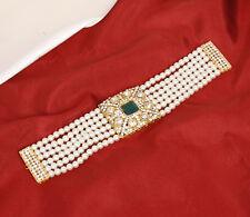Indian Ethnic Bollywood Gold tone Pearl Wrist Bracelet Fashion Women Jewelry Set