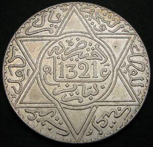 MOROCCO 1 Rial (10 Dirhams) AH 1321 Pa - Silver - aUNC - 2219 *