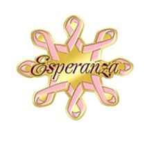 Pink Ribbon EsperanzaLapel Pin Tac Breast Cancer Awareness Spanish Carded New