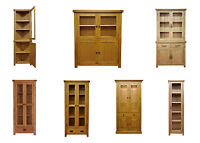 Solid Oak Display Cabinet / Cupboard / Highboard / Dresser Glass Curio Corner