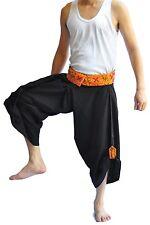 Thai Fisherman Pants Mens Yoga Hippie Boho Aladdin Alibaba Harem Pants Black