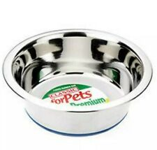 Classic Premium STAINLESS STEEL Silver Non Slip Pet Dog Cat Food Water Bowl Dish