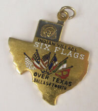 Vintage 1960s Six Flags Over Texas INDIAN VILLAGE Sterling Silver Bracelet Charm