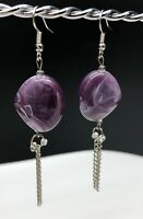 Handcrafted One Of A Kind Original Artisan Silver & Purple Dangle Earrings