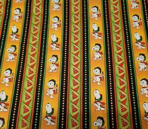 Welcome Great Pumpkin BTY Peanuts Quilting Treasures Charlie Brown Snoopy Stripe