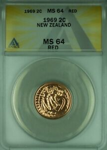 1969 2C New Zealand ANACS MS 64 Red 2 Cent Coin KM#32 Better Coin (WB2)