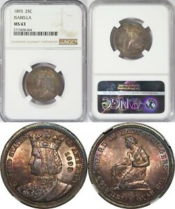 1893 U.S. 25 Cents ~ Isabella I Commemorative Quarter ~ NGC MS63 ~ Colorful Tone
