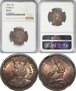 1893 U.S. 25 Cents ~ Isabella I Commemorative Quarter ~ NGC MS63 ~ Colorful Tone