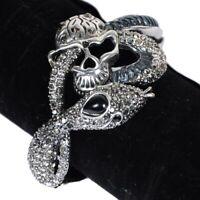 Damen Silber Metall Schlange Armband Mode Skelett Totenschädel Pirate